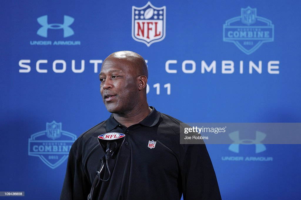 Chicago Bears head coach Lovie Smith answers questions during a media session at the 2011 NFL Scouting Combine at Lucas Oil Stadium on February 25, 2011 in Indianapolis, Indiana.