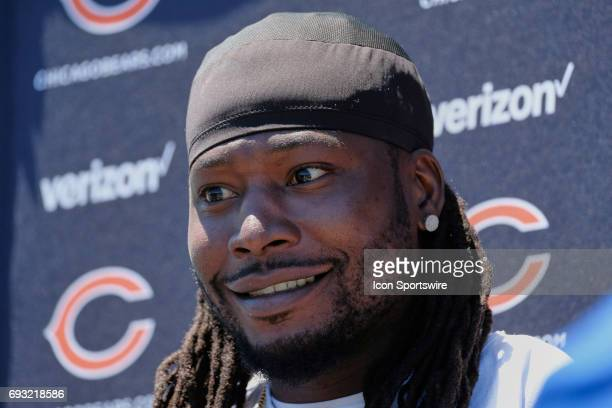 Chicago Bears linebacker Pernell McPhee talks with members of the press after the Bears team OTA workouts on June 06 2017 at Halas Hall in Lake...