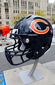 Chicago Bears NFL football helmet is on display in Pioneer Court to commemorate the NFL Draft 2015 in Chicago on April 30 2015 in Chicago Illinois