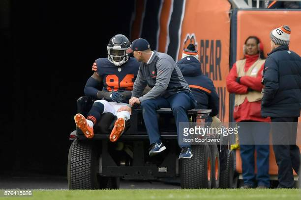 Chicago Bears outside linebacker Leonard Floyd is carted off the field on a stretcher after getting injured during an NFL football game between the...