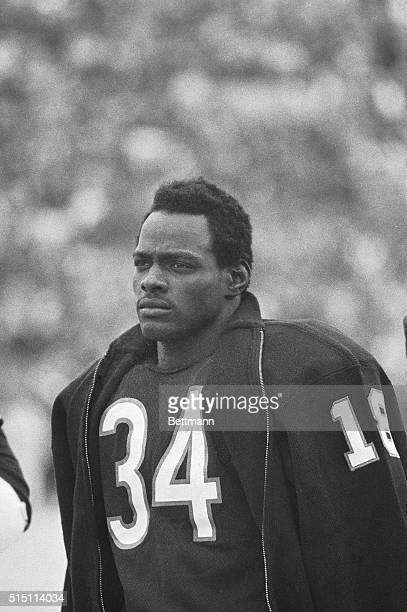 Chicago Bears' player Walter Payton is shown in a closeup during the singing of the national anthem prior to the start of a game against Kansas City
