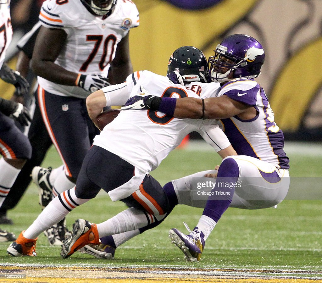Chicago Bears quarterback Jay Cutler (6) is sacked by Minnesota Vikings defensive end Everson Griffen (97) during the second quarter at Mall of America Field on Sunday, December 9, 2012, in Minneapolis, Minnesota.