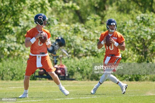 Chicago Bears quarterback Mike Glennon and Chicago Bears quarterback Mitchell Trubisky participate in drills during team OTA workouts on June 06 2017...