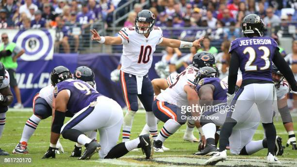 Chicago Bears quarterback Mitch Trubisky calls out a play in the first quarter against the Baltimore Ravens on Sunday Oct 15 2017 at MT Bank Stadium...