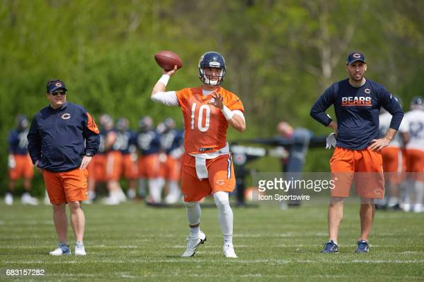 Chicago Bears quarterback Mitch Trubisky is coached by Chicago Bears offensive coordinator Dowell Loggains and Chicago Bears quarterbacks coach Dave...