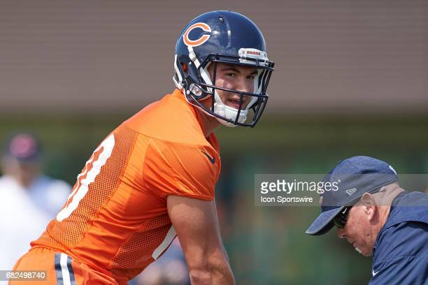 Chicago Bears quarterback Mitch Trubisky participates in drills during the Chicago Bears Rookie Camp on May 12 2017 at Halas Hall in Lake Forest IL