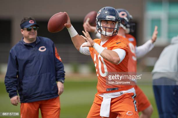 Chicago Bears quarterback Mitch Trubisky participates in drills during the Chicago Bears Rookie Camp on May 13 2017 at Halas Hall in Lake Forest IL