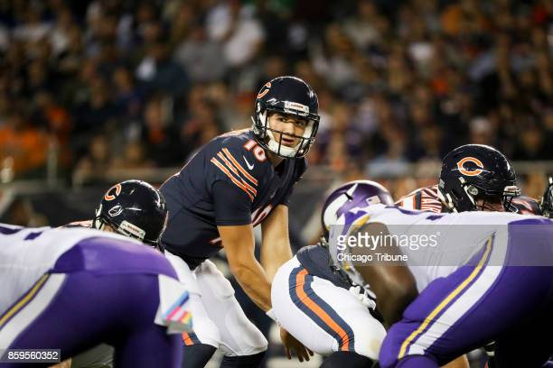 Chicago Bears quarterback Mitch Trubisky stands behind the line during the first half against the Minnesota Vikings at Soldier Field Monday Oct 9...
