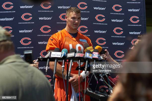 Chicago Bears quarterback Mitch Trubisky talks with members of the press after the Chicago Bears Rookie Camp on May 12 2017 at Halas Hall in Lake...