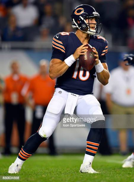 Chicago Bears quarterback Mitchell Trubisky looks for a receiver during the preseason game between the Denver Broncos and the Chicago Bears on August...