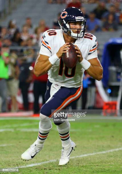 Chicago Bears quarterback Mitchell Trubisky looks to pass during a National Football League preseason game between the Chicago Bears and the Arizona...