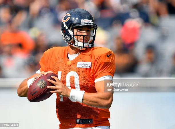 Chicago Bears quarterback Mitchell Trubisky looks to pass during the Chicago Bears Training Camp on August 5 2017 at Soldier Field in Chicago Illinois