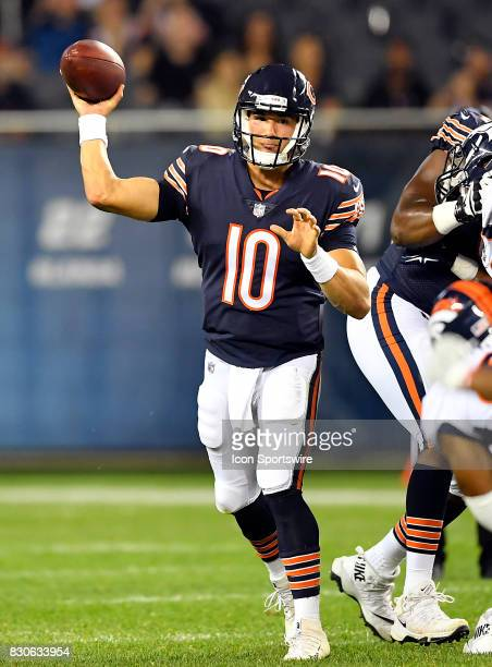 Chicago Bears quarterback Mitchell Trubisky passes the football during the preseason game between the Denver Broncos and the Chicago Bears on August...
