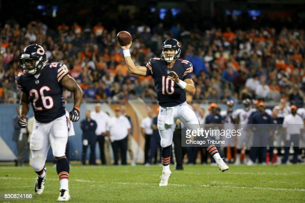 Chicago Bears quarterback Mitchell Trubisky throws a touchdown pass against the Denver Broncos at Solider Field in Chicago on August 10 2017
