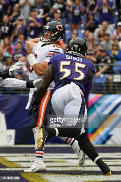 Chicago Bears quarterback Mitchell Trubisky throws under pressure from Baltimore Ravens outside linebacker Terrell Suggs on October 15 at MT Bank...