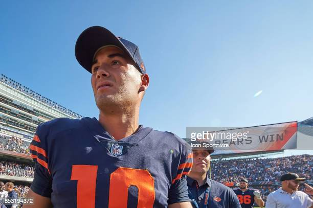 Chicago Bears quarterback Mitchell Trubisky walks off the field after an NFL football game between the Pittsburgh Steelers and the Chicago Bears on...