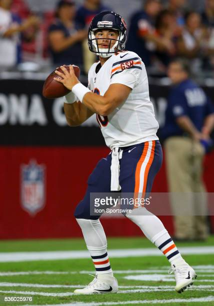 Chicago Bears quarterback Mitchell Trubisky warms up before a National Football League preseason game between the Chicago Bears and the Arizona...