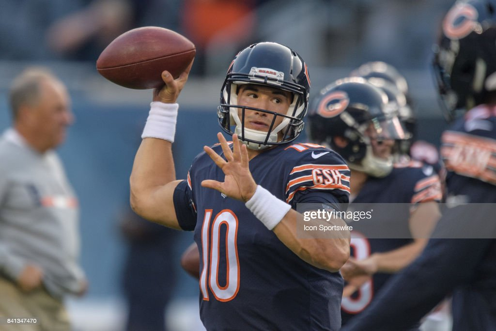 Chicago Bears quarterback Mitchell Trubisky (10) warms up during an NFL preseason football game between the Cleveland Browns and the Chicago Bears on August 31, 2017, at Soldier Field in Chicago, IL.
