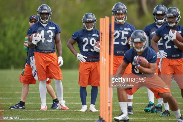 Chicago Bears running back Tarik Cohen participates in drills during the Chicago Bears Rookie Camp on May 13 2017 at Halas Hall in Lake Forest IL