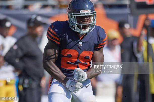 Chicago Bears running back Tarik Cohen reacts in celebration after a play during an NFL football game between the Pittsburgh Steelers and the Chicago...