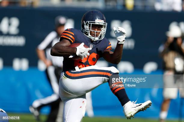 Chicago Bears running back Tarik Cohen runs for huge yards in the overtime period against the Pittsburgh Steelers at Soldier Field in Chicago on...