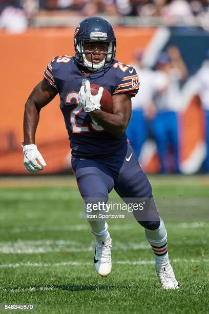 Chicago Bears running back Tarik Cohen runs with the football during an NFL football game between the Atlanta Falcons and the Chicago Bears on...
