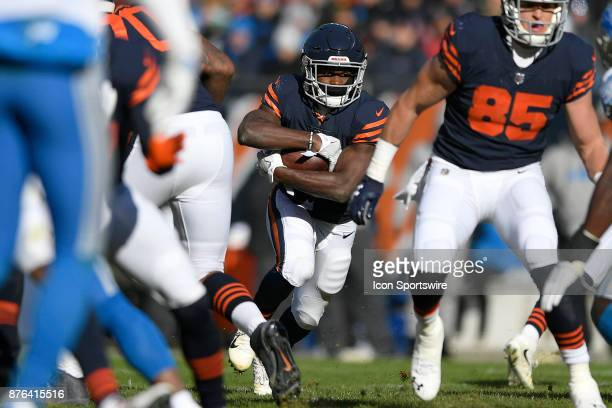 Chicago Bears running back Tarik Cohen runs with the football during an NFL football game between the Detroit Lions and the Chicago Bears on November...