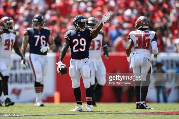 Chicago Bears running back Tarik Cohen signals a first down after his catch and run during an NFL football game between the Chicago Bears and the...