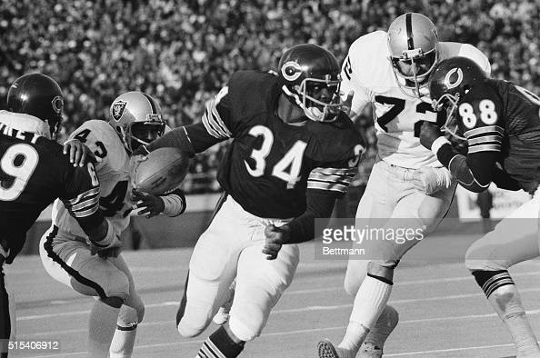 Chicago Bears' running back Walter Payton takes advantage of the good blocking and rambles 12 yards for a touchdown in the third quarter of the game...