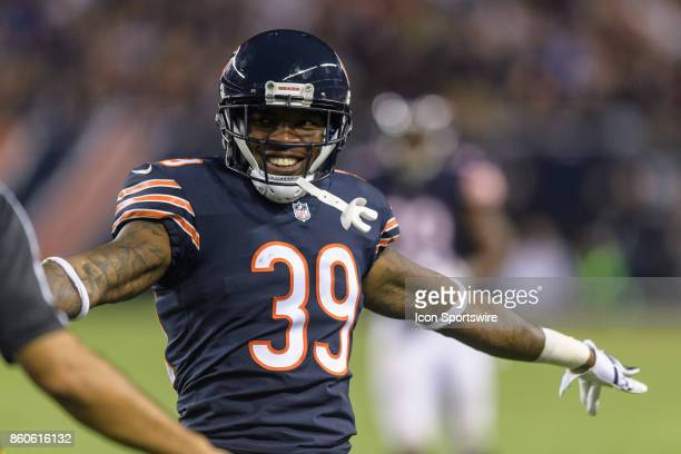 Chicago Bears safety Eddie Jackson celebrates a Minnesota Vikings incomplete pass in the 4th quarter during an NFL football game between the...