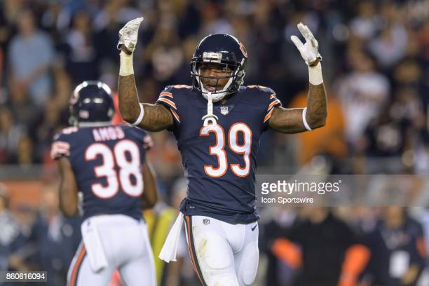 Chicago Bears safety Eddie Jackson looks to the crowd in the 4th quarter during an NFL football game between the Minnesota Vikings and the Chicago...