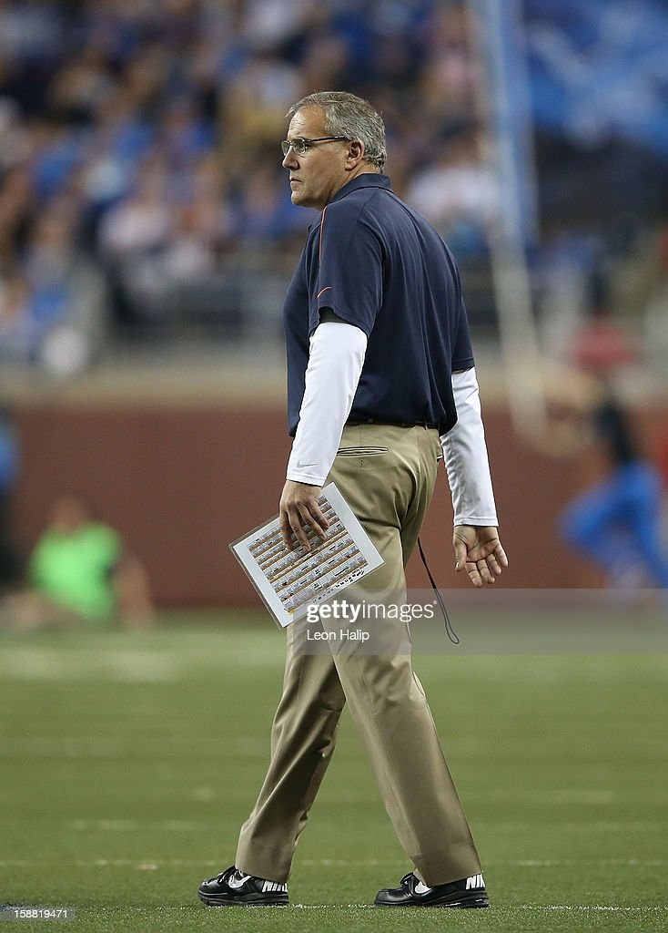Chicago Bears special team coach <a gi-track='captionPersonalityLinkClicked' href=/galleries/search?phrase=Dave+Toub&family=editorial&specificpeople=2191046 ng-click='$event.stopPropagation()'>Dave Toub</a> watches the action during the game against the Detroit Lions at Ford Field on December 30, 2012 in Detroit, Michigan. The Bears defeted the Lions 26-24.
