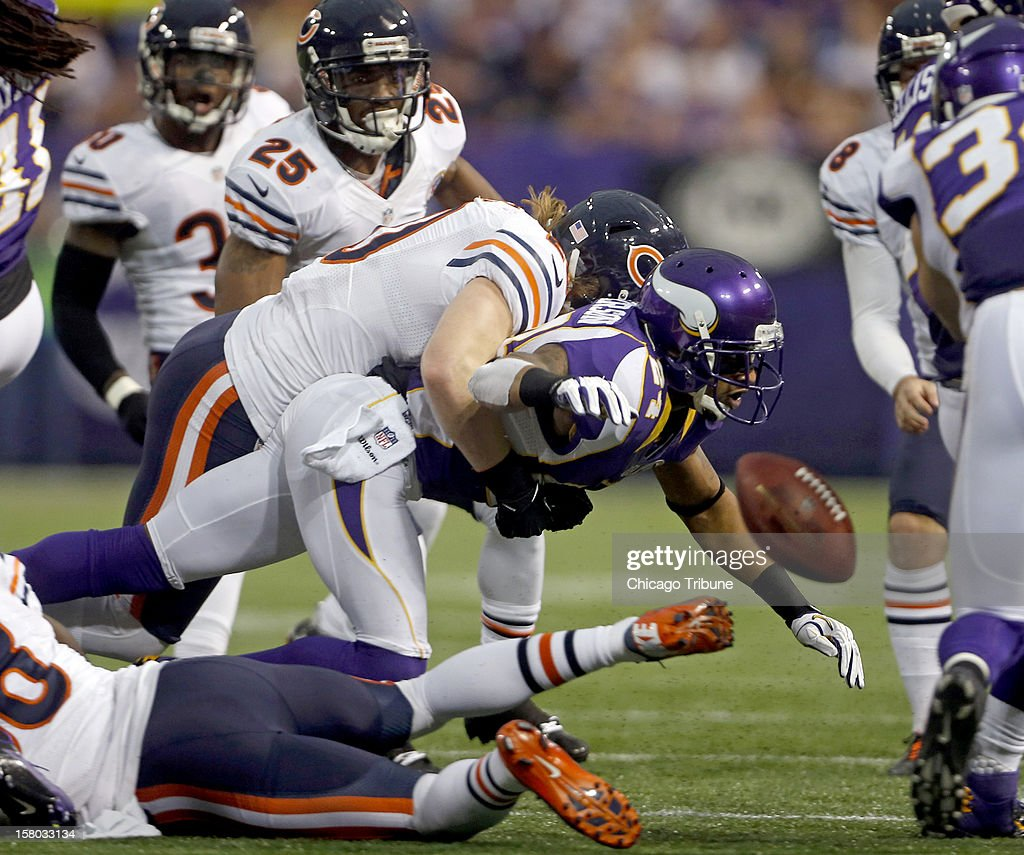 Chicago Bears strong safety Craig Steltz (20) forces a fumble by Minnesota Vikings cornerback A.J. Jefferson (24) on a second quarter kickoff at Mall of America Field on Sunday, December 9, 2012, in Minneapolis, Minnesota.
