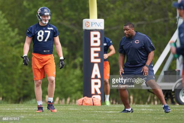 Chicago Bears tight end Adam Sheehan participates in drill during the Chicago Bears Rookie Camp on May 13 2017 at Halas Hall in Lake Forest IL