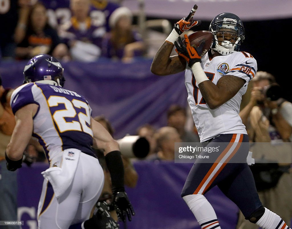 Chicago Bears wide receiver Alshon Jeffery (17) catches a touchdown in front of Minnesota Vikings free safety Harrison Smith (22) in the second quarter at Mall of America Field on Sunday, December 9, 2012, in Minneapolis, Minnesota.