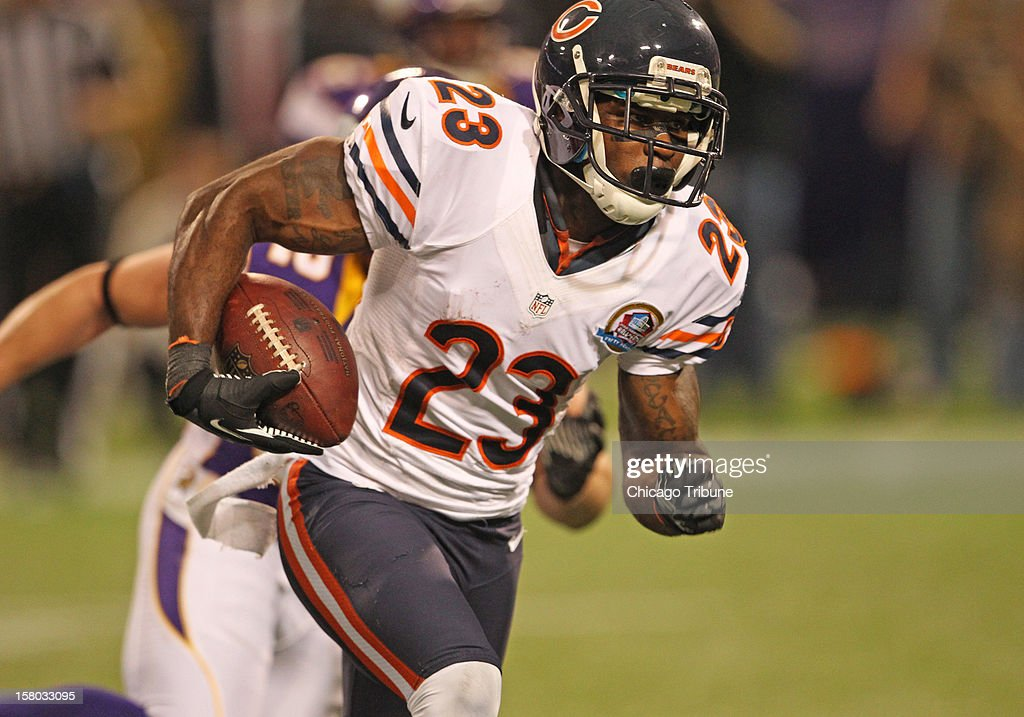 Chicago Bears wide receiver Devin Hester (23) runs for yardage during the second half against the Minnesota Vikings at Mall of America Field on Sunday, December 9, 2012, in Minneapolis, Minnesota.