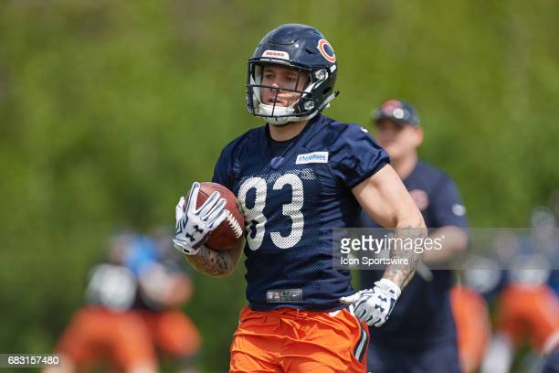 Chicago Bears wide receiver tanner Gentry participates in a passing drill during the Chicago Bears Rookie Camp on May 13 2017 at Halas Hall in Lake...