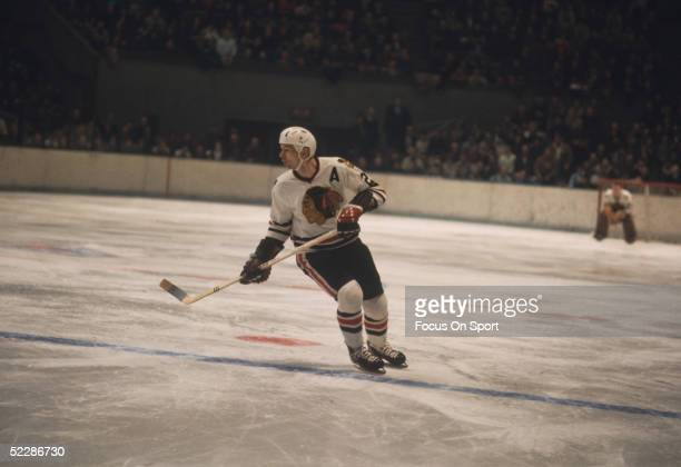 Chicago Black Hawks' center Stan Mikita skates during a game Stan Mikita played his entire 22 year career with the Black Hawks and was awarded with...