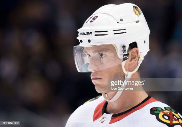 Chicago Blackhawks center Jonathan Toews during a break in the second period during the Toronto Maple Leafs game versus the Chicago Blackhawks on...