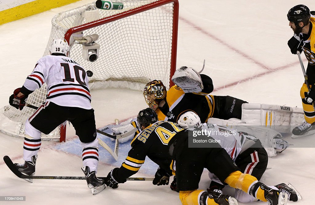Chicago Blackhawks center Patrick Sharp (#10) scores a power play goal to give the Chicago Blackhawks a 5-4 lead in the third period. The Boston Bruins hosted the Chicago Blackhawks for Game Four of the Stanley Cup Finals at the TD Garden, June 19, 2013.