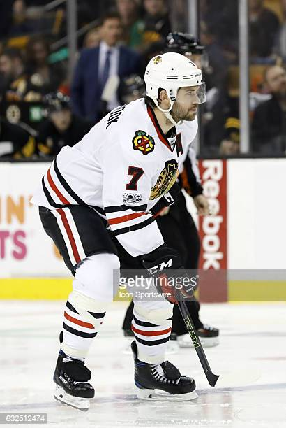 Chicago Blackhawks defenseman Brent Seabrook gets set for an offensive zone face off during a regular season NHL game between the Boston Bruins and...