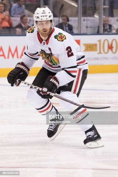 Chicago Blackhawks defenseman Duncan Keith skates up ice in the first period during the Toronto Maple Leafs game versus the Chicago Blackhawks on...