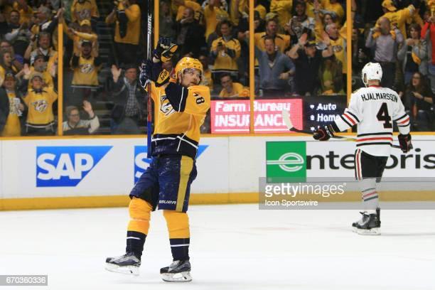 Chicago Blackhawks defenseman Niklas Hjalmarsson skates away as Nashville Predators right wing Viktor Arvidsson celebrates the second goal by...