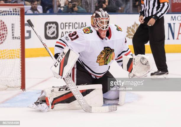Chicago Blackhawks goalie Anton Forsberg covers the net during the second period during the Toronto Maple Leafs game versus the Chicago Blackhawks on...