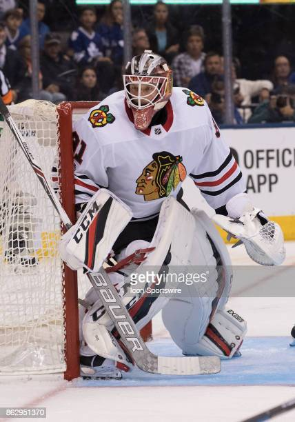 Chicago Blackhawks goalie Anton Forsberg in action in the second period during the Toronto Maple Leafs game versus the Chicago Blackhawks on October...
