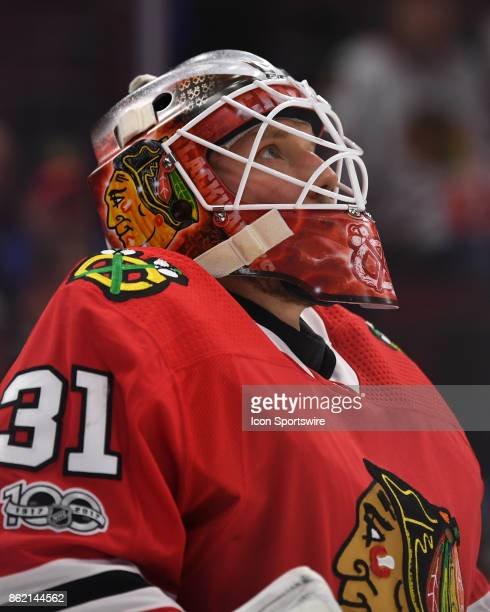 Chicago Blackhawks goalie Anton Forsberg looks up a game between the Chicago Blackhawks and the Minnesota Wild on October 12 at the United Center in...