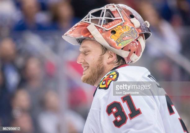 Chicago Blackhawks goalie Anton Forsberg takes a break in the second period during the Toronto Maple Leafs game versus the Chicago Blackhawks on...