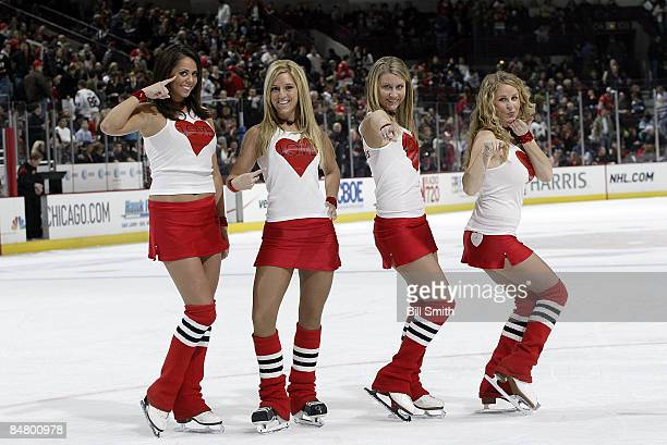 Chicago Blackhawks ice crew celebrate Valentines Day during a game against the Dallas Stars on February 14 2009 at the United Center in Chicago...