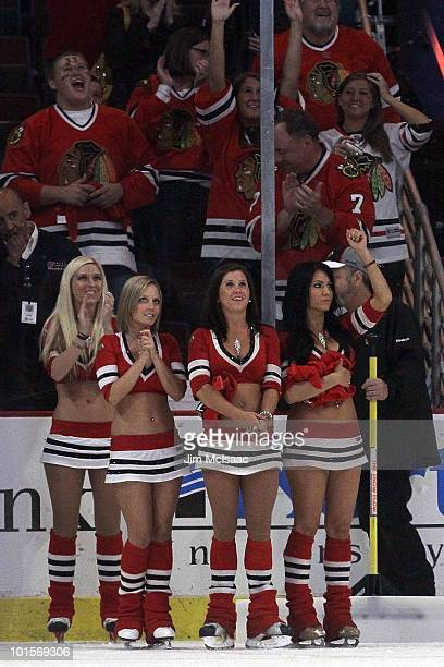Chicago Blackhawks ice girls on the ice during a break against the Philadelphia Flyers in Game Two of the 2010 NHL Stanley Cup Final at the United...