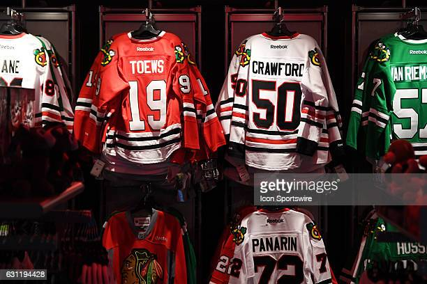 Chicago Blackhawks jerseys on display in a store prior to a game between the Carolina Hurricanes and the Chicago Blackhawks on January 6 at the...